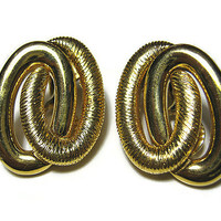 Monet Vintage Clip on Earrings Gold Tone Double Oval Womens Retro