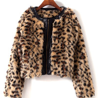 Leopard Print Collarless Faux Fur Coat