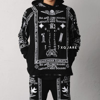 K Church Print Leather Mix Raglan Hoodie