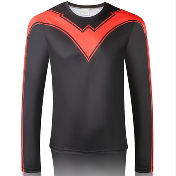 Nightwing Robin Quick-dry Sports T-shirt, Breathable Long Sleeve T-shirt For Outdoor Sports.