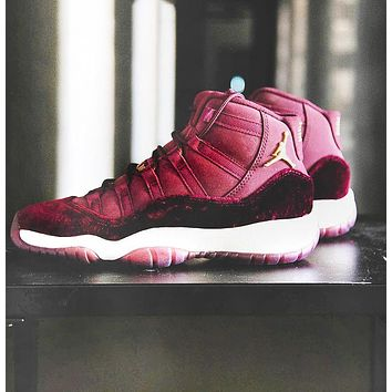 "AJ11 Air Jordan 11 RL GG Red ""Velvet""  Sport Basketball Shoes Sneakers"