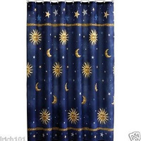 Navy Blue Celestial Fabric Shower Curtain With Sun, Moon and Stars