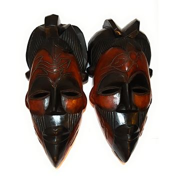 """🎁 ONE DAY SALE 12"""" African Wood Mask: Black and Brown"""