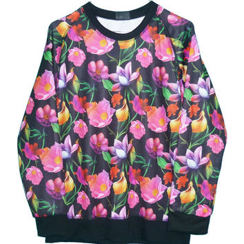 Lotus pink violet red orchid flower garden sweater **long sleeve tee ** pullover jumper shirt ** women clothing size M L one size