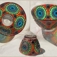 Glass BOWL | gift, salad bowl, candle holder, dinnerware, home decor | stained glass, hand painted, vitrage painting| Rainbow. Circle | OOAK
