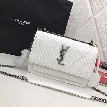 YSL SAINT LAURENT WOMEN'S LEATHER SUNSET INCLINED SHOULDER BAG