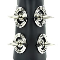 """2"""" Fauceted Spikes with Rings Wristband Armband Gauntlet Metal"""