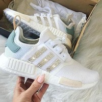 Adidas NMD individuality Sequins Fashion Casual Trending Women Leisure Running Sports Shoes White
