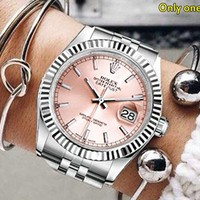 Rolex Tide brand men and women models simple and versatile fashion quartz watch pink