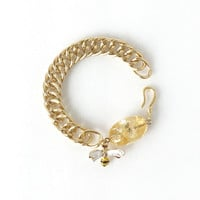 Citrine Gemstone Bracelet with Bee Charm and Matte Gold Curb Chain, Yellow Tumbled Stone, November Birthstone