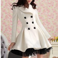 FASHION CULTIVATE ONE'S MORALITY LACE BOTTOM COAT