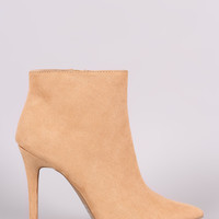 Qupid Suede Pointy Toe Stiletto Booties