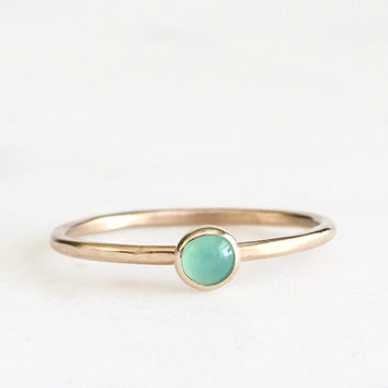 14k petite chrysoprase stacking ring