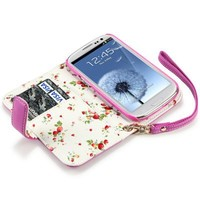 Hot Pink Premium PU Leather Wallet Case with Floral Interior Compatible with Samsung Galaxy S3 i9300