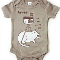 SALE: Organic Baby Onesuit - Cat Onesuit - Cat Baby Outfit (Grey)