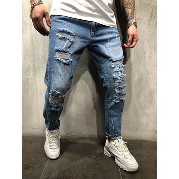 MEN'S STREET STYLE RIPPED BLUE JEANS DISTRESSED 4384