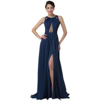 Real Photo 2016 Stock Backless Navy Blue Formal Evening Dress Robe de Soiree Sexy Party Gowns Chiffon Long Evening Dresses 6281