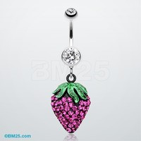 Glitter Sparkle Strawberry Belly Button Ring