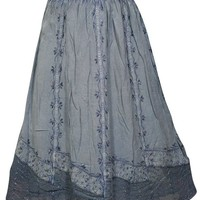 WOMENS Skirts Stonewashed Grey Rayon Embroidered Vintage Long Skirt L