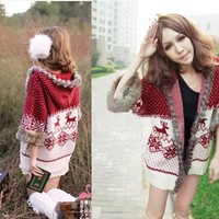 Christmas deer with snowflakes little hooded sweater BBBE