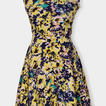 Yellow Floral Print Sleeveless Zippered Dress
