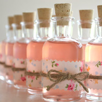 10 Mini DIY cork bottle favors - Adorable vintage floral decanters perfect for wine, pink lemonade or homemade vodka