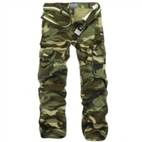 Aubig 100% Cotton Outdoor Woodland Camouflage Pants Cargo Military Pants