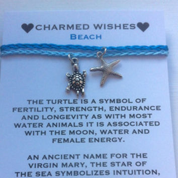 Starfish and Turtle anklets, ankle bracelets, simple bracelet, beach jewellery, summer holiday anklets. Pair of stacking anklets.