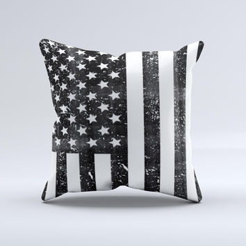 Grunge Black and White American Flag  Ink-Fuzed Decorative Throw Pillow