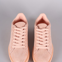 Qupid Suede Lace Up Sneaker