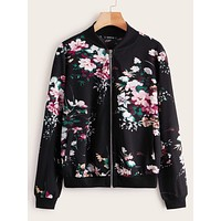 SHEIN Floral Print Zipper Up Bomber Jacket