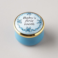 Halcyon Days Enamels Blue Babys First Tooth Box