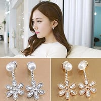 Brincos 2017 Pearls Pendientes Earing Bijoux Imitation Pearl 5 Flowers Stud Earrings For Women Wedding Jewelry Earings Brincos -0330