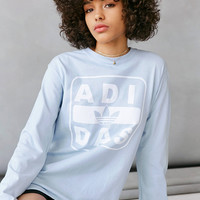 adidas + UO Long-Sleeve Stenciled Logo Tee   Urban Outfitters