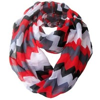 Sexyinlife Chiffon Chevron Multicolor Fashion Women's Infinity Loop Circle Scarf Red