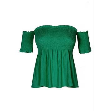 Smocked Bodice Off Shoulder Top, Two Colors