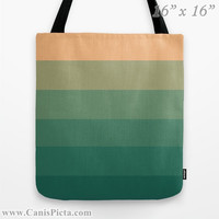 "Ombre ""Peach Green Tea"" 13x13 Graphic Print Tote Bag Emerald Orange Jade Color Fade 16x16 18x18 Gift Her Him Spring Summer Back to School"