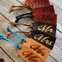 Mr. and Mrs. SET of TWO Genuine Leather Custom Luggage Tags - Your Choice of Stain and Lace Color - Bridal Party Wedding Gifts