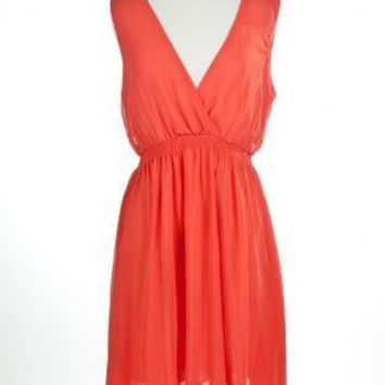 Coral Semi-Sheer High-Low Dress with V-Neckline