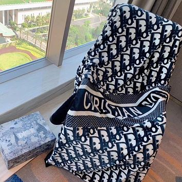 DIOR Hot Sale Full Printed Retro Blanket D Home Coral Fleece Thickening Blanket Adult Single Bed Blanket