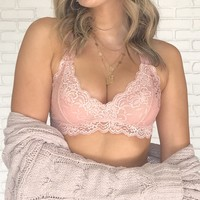 Racerback Lace Bralette in Blush Pink