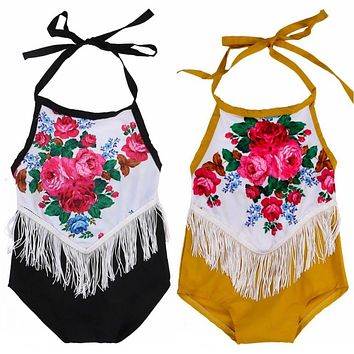 Cute Floral Tassels Retro Romper clothes Toddler Baby Girls sleeveless backless Romper Jumpsuit Sunsuit Clothes