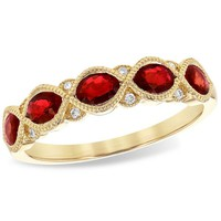 Ben Garelick Vintage Style Ruby & Diamond Stackable Ring