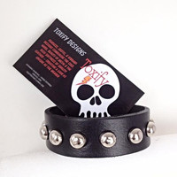 Genuine Leather Studded Bracelet  - Black leather cuff bracelet with round silver studs