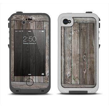 The Wooden Wall-Panel Apple iPhone 4-4s LifeProof Fre Case Skin Set