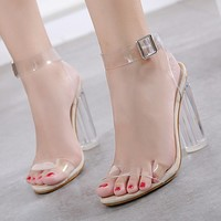 Fashionable thick-heeled transparent sandals with one-word strap buckle Baita sandals 35-42 in stock