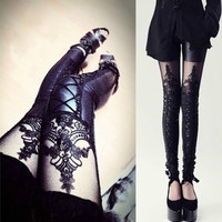 Sexy Women PU Leather Splicing Embroidery Hollow Lace Leggings Pantyhose  D_L (Color: Black) = 1712525188
