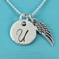 Initial necklace with Angle wing, sterling silver, 1/2 inch monogram letter pendant, guardian angel, Christmas gift for her handstamped