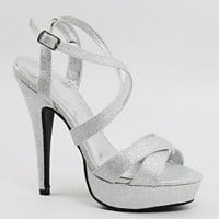 """Wedding shoes silver with 4 1/2"""" heels with 1/2"""" platform (Style 200-41)"""