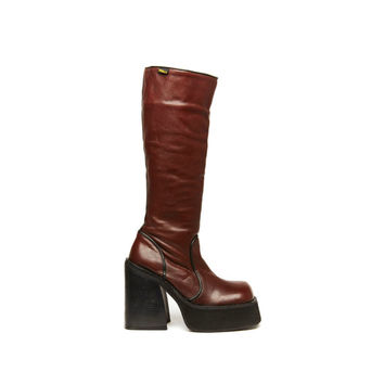 Double Take Size 8.5 Brown Leather Knee High Platform Boot